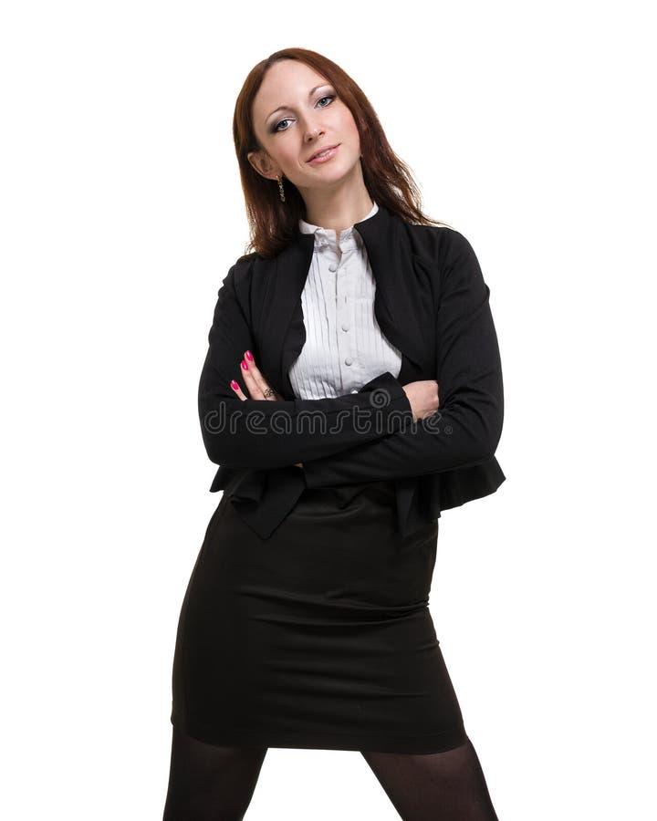 Portrait de plan rapproché de la jeune femme mignonne d'affaires d'isolement sur le blanc photos stock