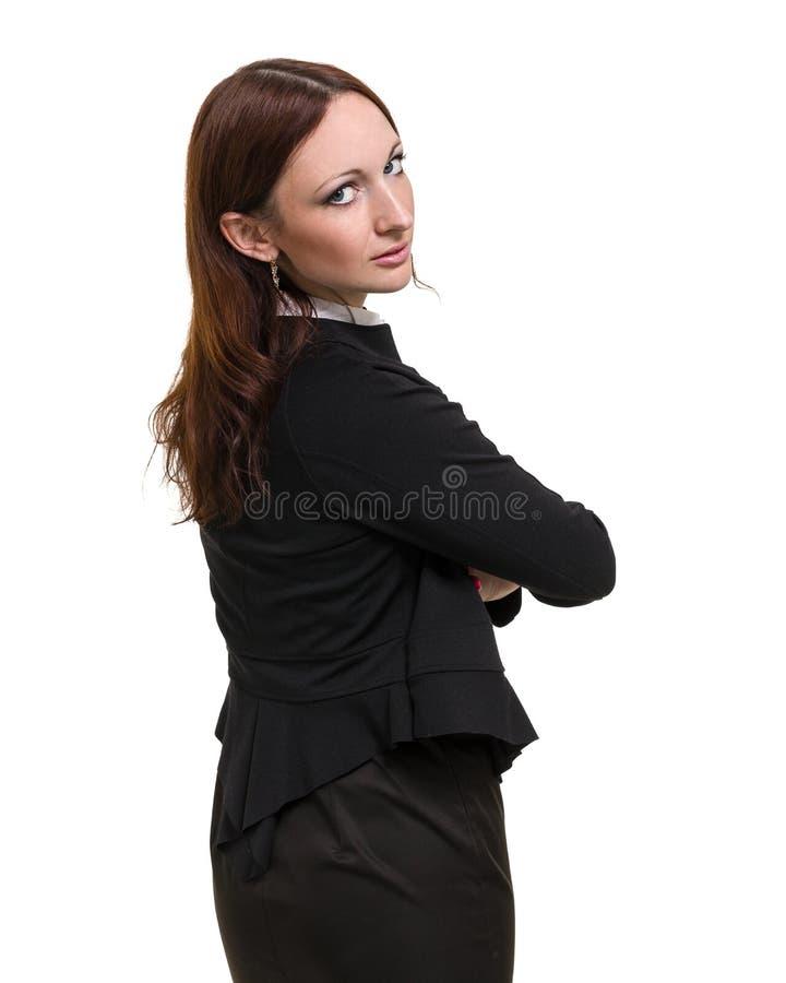 Portrait de plan rapproché de la jeune femme mignonne d'affaires d'isolement sur le blanc images libres de droits
