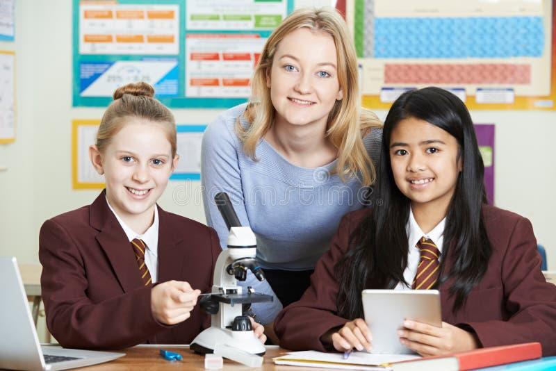 Portrait de professeur With Female Students à l'aide du microscope dans Sci photos libres de droits