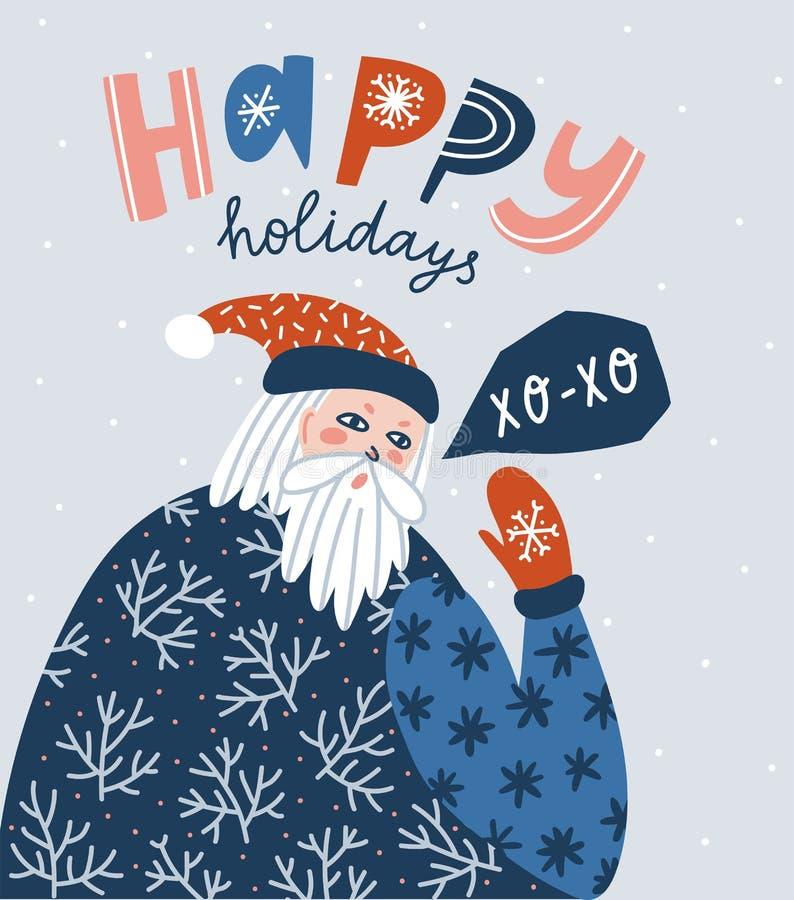"""Portrait de Santa Claus avec le lettrage - """"bonnes fêtes """" Illustration de Noël de vecteur illustration libre de droits"""