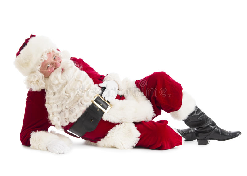 Portrait de Santa Claus Lying On Floor photographie stock