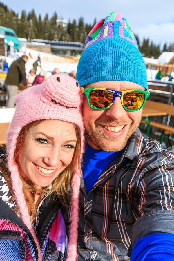 Portrait de selfie de Wintersport image libre de droits