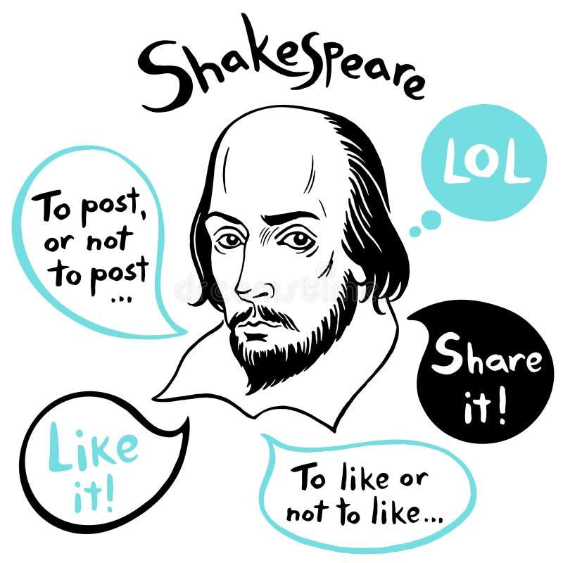 Portrait de Shakespeare avec des bulles de la parole et des citations drôles de media social illustration de vecteur