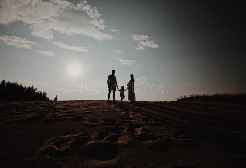 Portrait de silhouette de belle jeune famille dans l'attente de nouveau-né Position d'homme et de femme face à face avec le leur photo stock