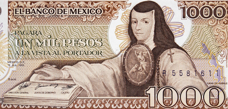 Portrait de SOR Juana Ines de la Cruz sur le Mexique 1000 pesos b 1985 image stock