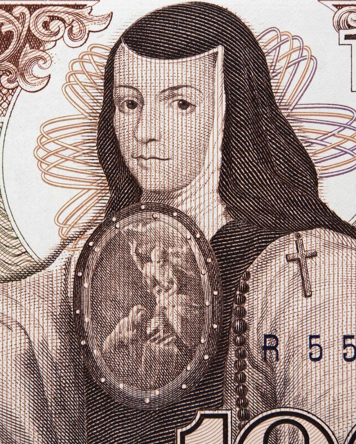 Portrait de SOR Juana Ines de la Cruz sur le Mexique 1000 pesos b 1985 images libres de droits