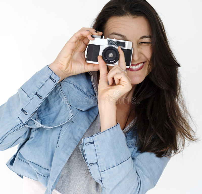 Portrait de studio de Camera Focus Photography de photographe de femme photos stock
