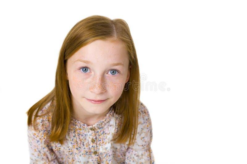 Portrait de studio de fille attirante de onze ans photographie stock libre de droits