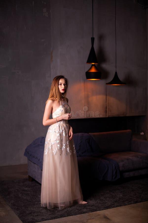 Portrait de style de mode de Vogue de robe de soirée de port de jeune belle femme riche assez élégante près de fauteuil en appart photo libre de droits