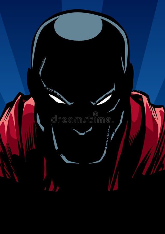 Portrait de super héros à la silhouette de nuit illustration de vecteur