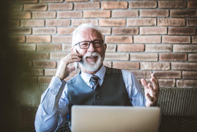 Portrait de téléphone parlant d'homme d'affaires supérieur images stock
