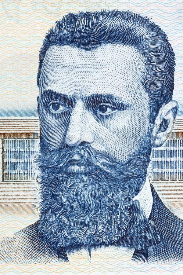 Portrait de Theodor Herzl d'argent israélien photographie stock libre de droits