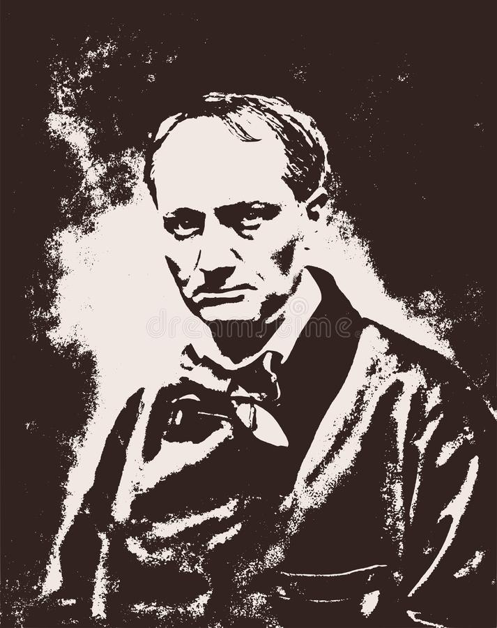 Portrait de vecteur du poète et de l'auteur français célèbres des fleurs de Charles Baudelaire mauvais illustration de vecteur