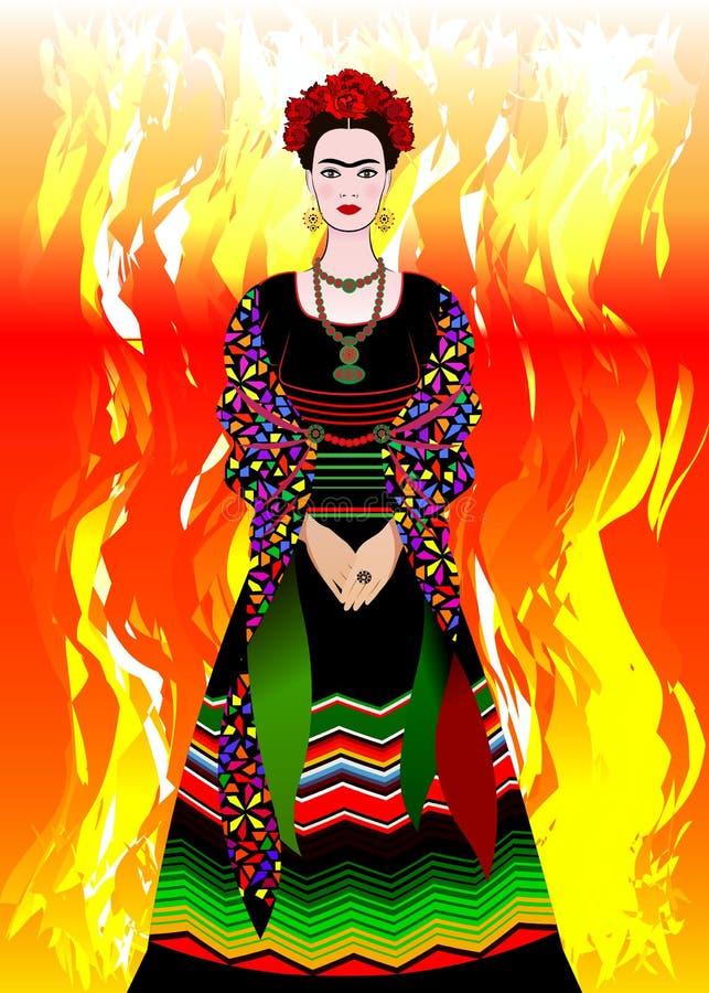 Portrait de vecteur de Frida Kahlo, femme mexicaine avec une coiffure traditionnelle Le Mexicain ouvre des bijoux et des fleurs r illustration libre de droits