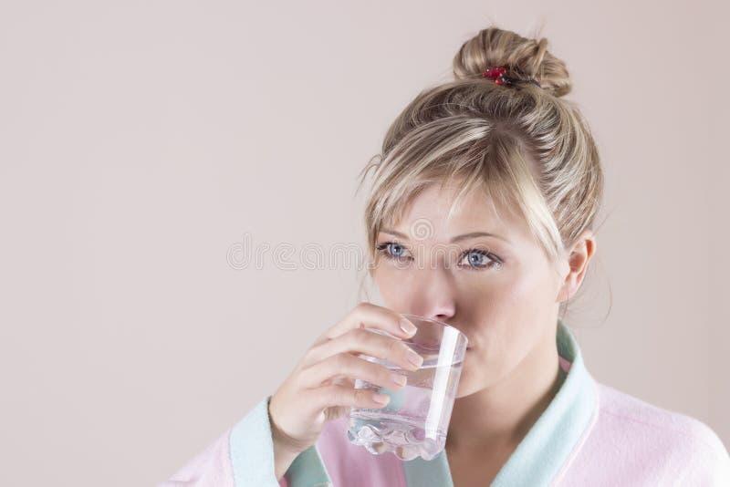 Portrait de visage d'eau potable de femme Fille de sourire Portrait images libres de droits