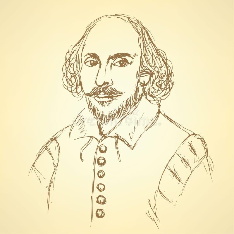 Portrait de William Shakespeare de croquis dans le style de vintage illustration de vecteur