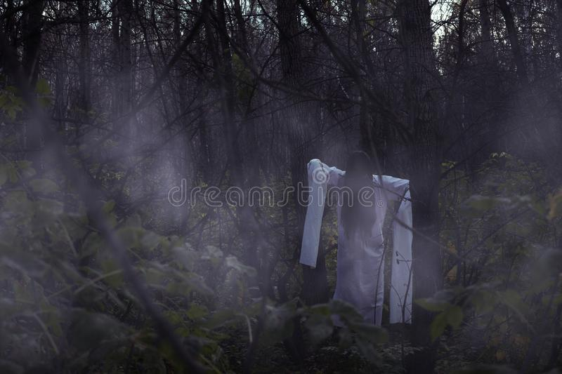 Portrait of a dead girl on Halloween in a gloomy forest. A ghost-girl in a gloomy dark forest at night on Halloween stock images