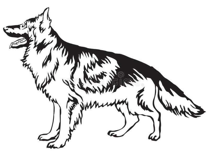 Portrait debout décoratif d'illustrat de vecteur de berger allemand illustration libre de droits