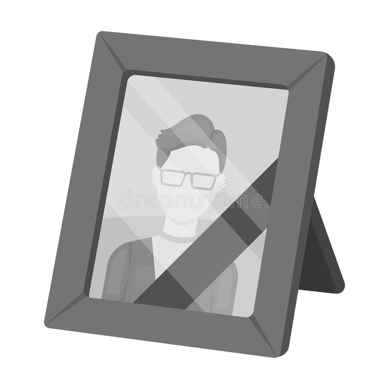 Portrait of deceased person icon in monochrome style isolated on white background. Funeral ceremony symbol stock vector. Portrait of deceased person icon in stock illustration