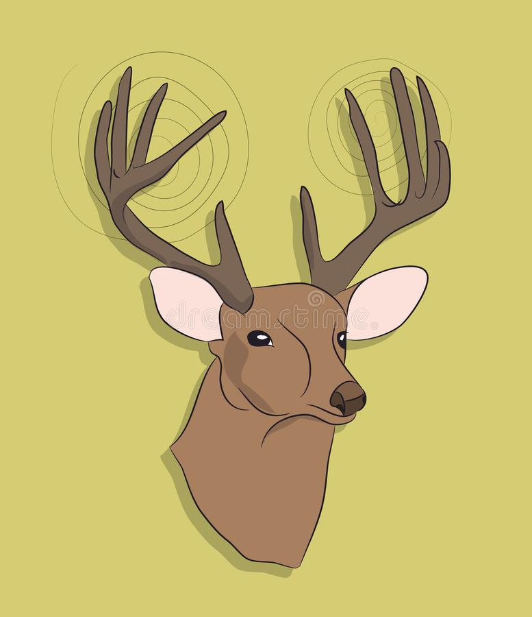 Portrait of a deer on a colored background. Vector stock illustration