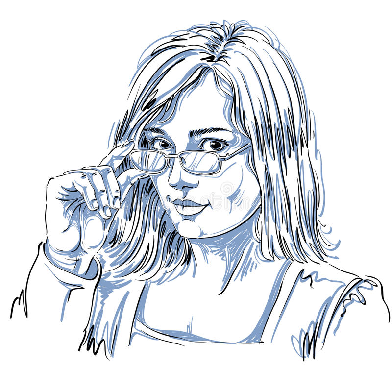 Portrait of delicate good-looking business woman with eyeglasses stock illustration