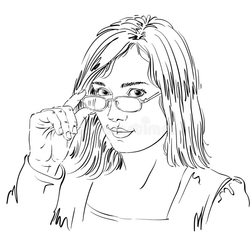 Portrait of delicate good-looking business woman with eyeglasses royalty free illustration