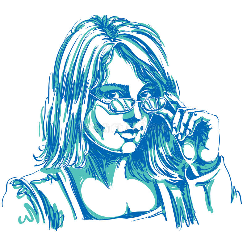 Portrait of delicate good-looking business woman with eyeglasses vector illustration