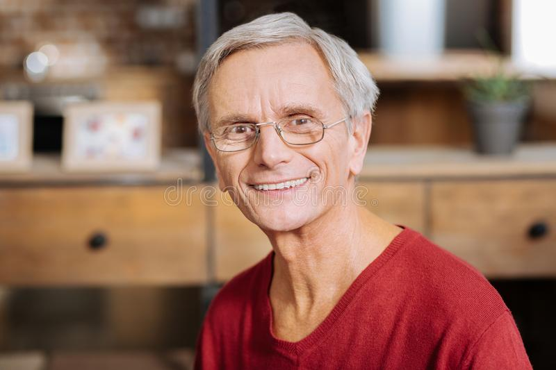 Portrait of a delighted nice man royalty free stock photos