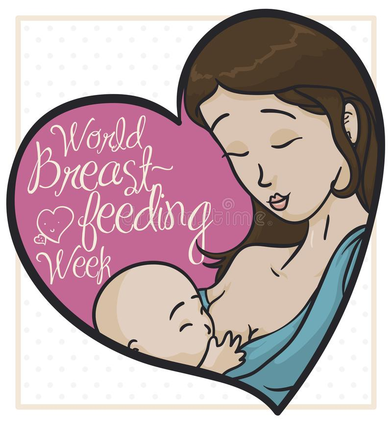 Portrait with Mom and Baby in Tender Scene for Breastfeeding Week, Vector Illustration. Portrait depicting a tender scene between mother and son inside a pink stock illustration