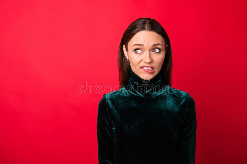Portrait of depressed disappointed lady look have thoughts unbelievable unexpected horrible information isolated over royalty free stock photo
