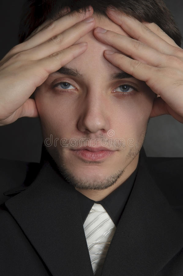 Portrait of depressed man. royalty free stock images