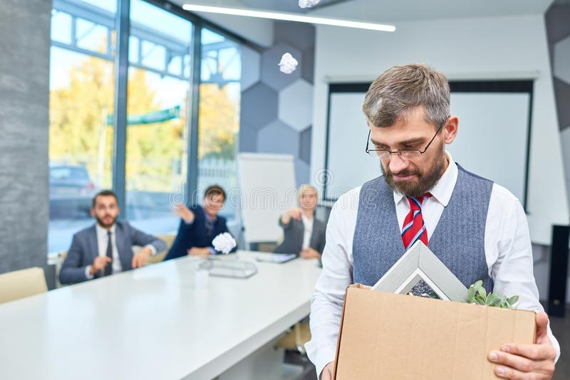 Sad Bearded Businessman Fired from Work stock image