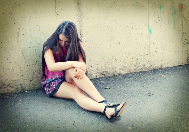 Portrait Of Depressed Teenager Girl. Royalty Free Stock Image