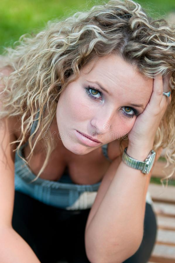 Portrait of depressed young woman royalty free stock photo