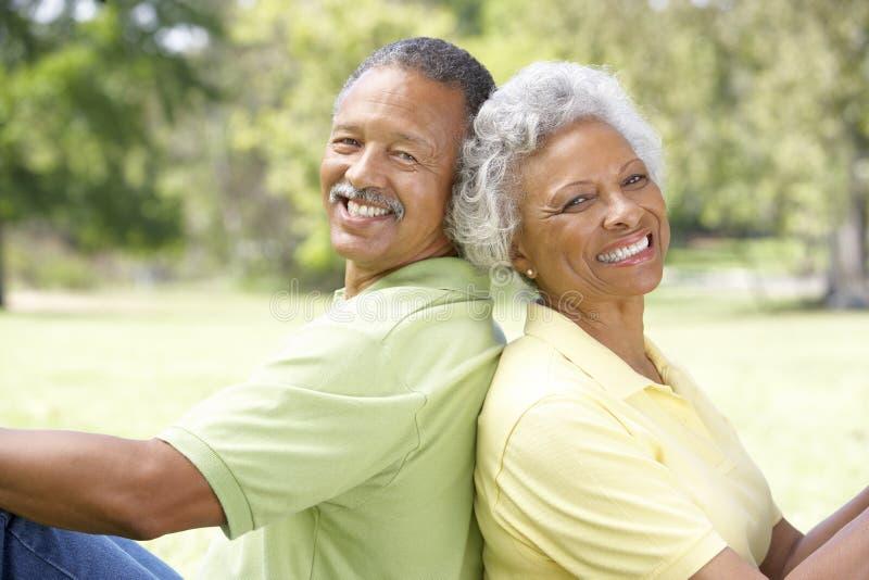Portrait der älteren Paare im Park lizenzfreie stockfotografie