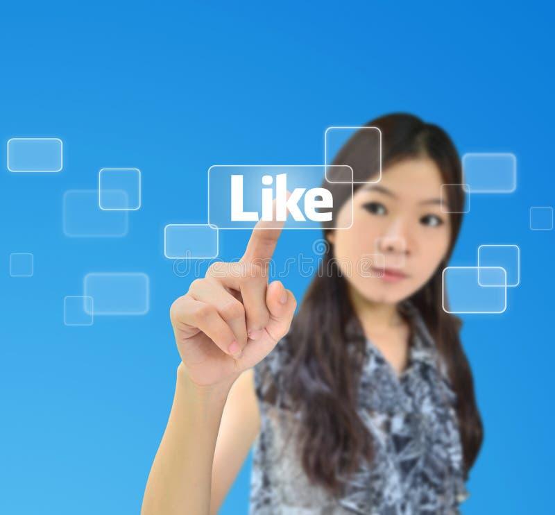 Portrait der asiatischen Frau betätigend wie Taste lizenzfreies stockfoto