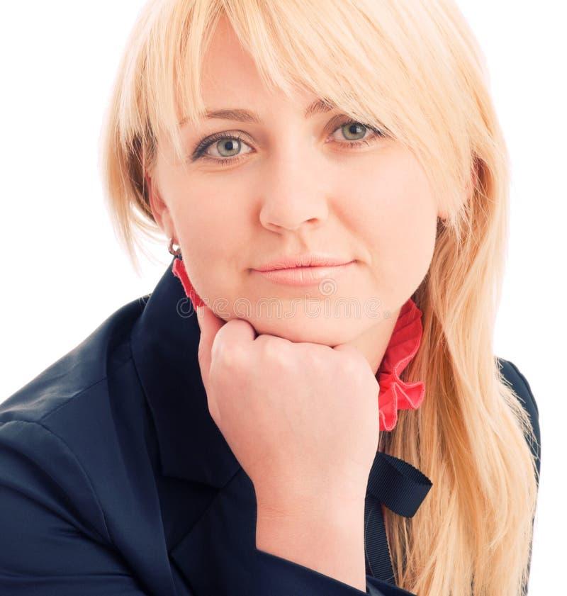 Portrait der attraktiven Geschäftsfrau auf Stuhl stockfotos