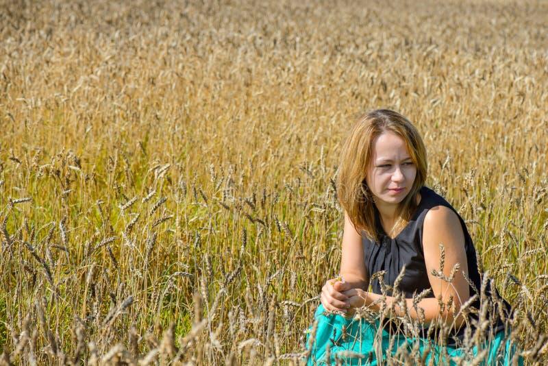 Portrait der Frau auf dem Gebiet lizenzfreie stockfotografie