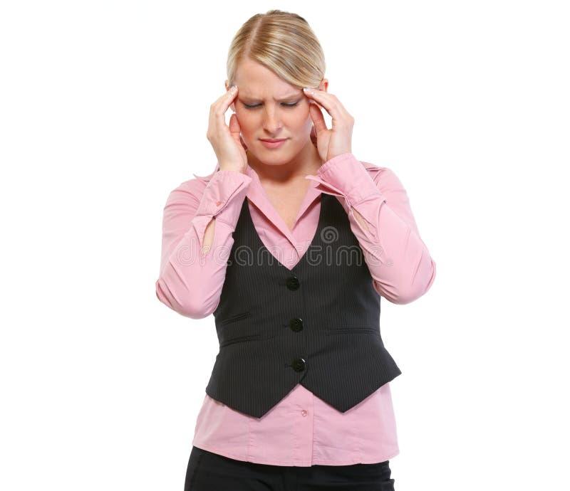 Portrait der Frau mit Kopfschmerzen stockbilder