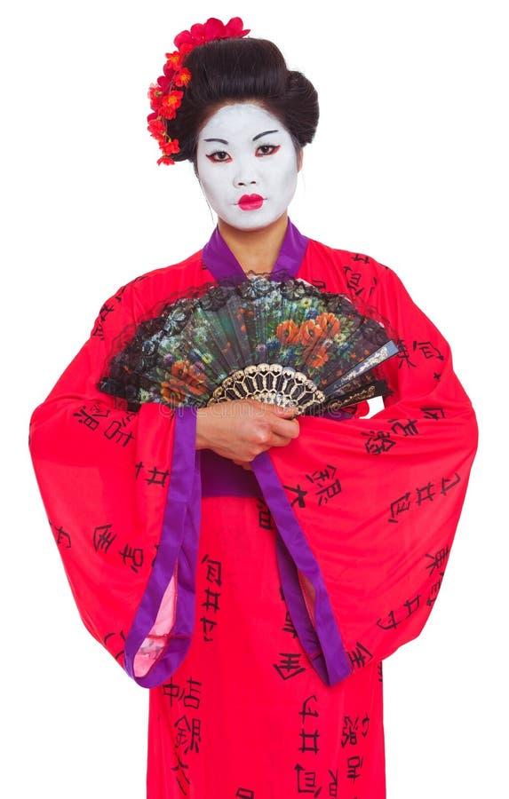 Portrait der Geisha mit Gebläsen stockfoto