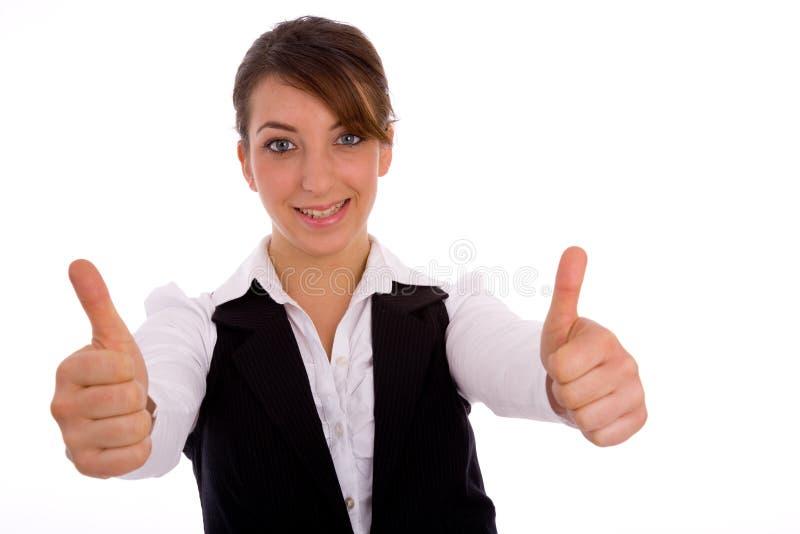 Portrait der Geschäftsfrau mit den Daumen oben stockbilder
