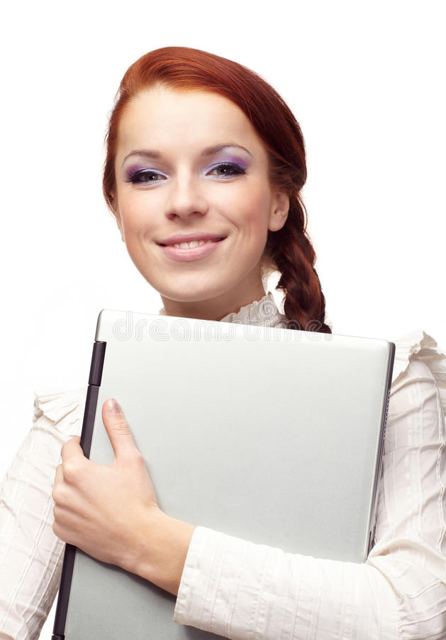 Portrait der glücklichen Geschäftsfrau stockfotos