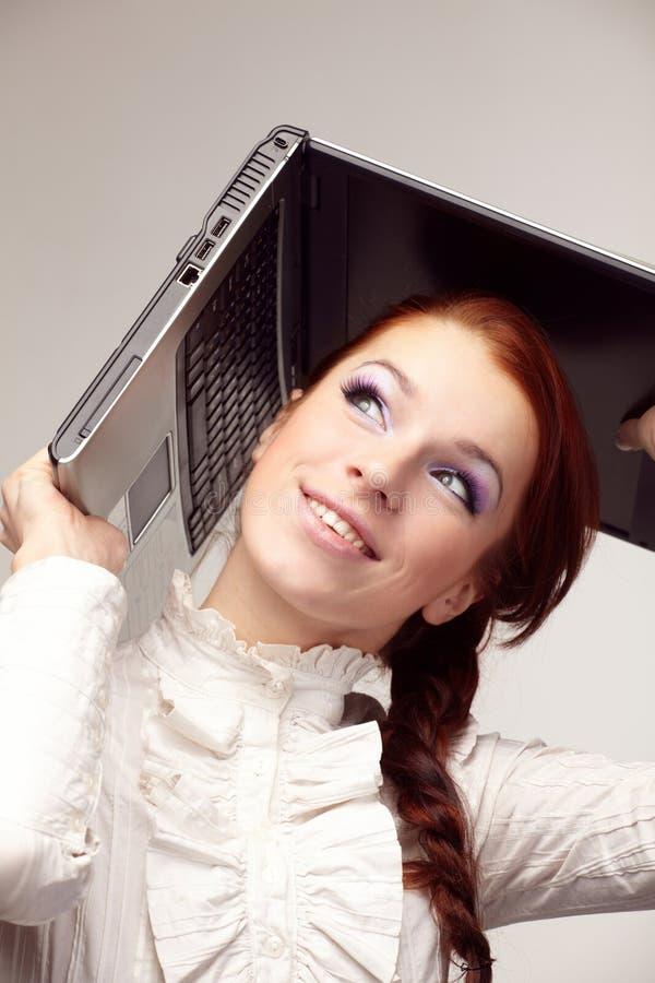 Portrait der glücklichen Geschäftsfrau stockfotografie