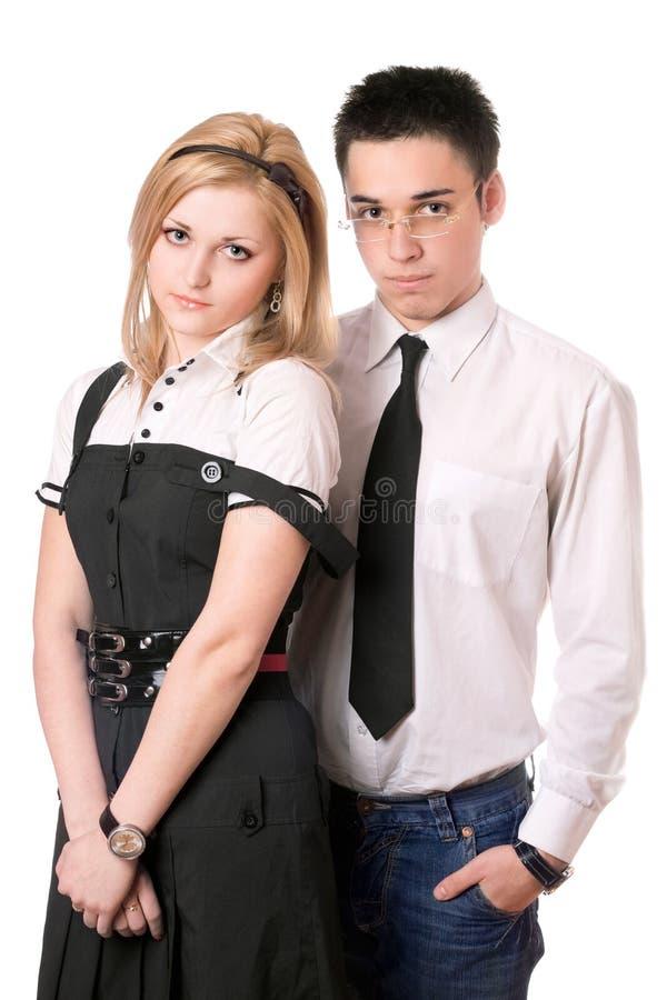 Portrait der hübschen Kursteilnehmerpaare. Getrennt stockfotografie