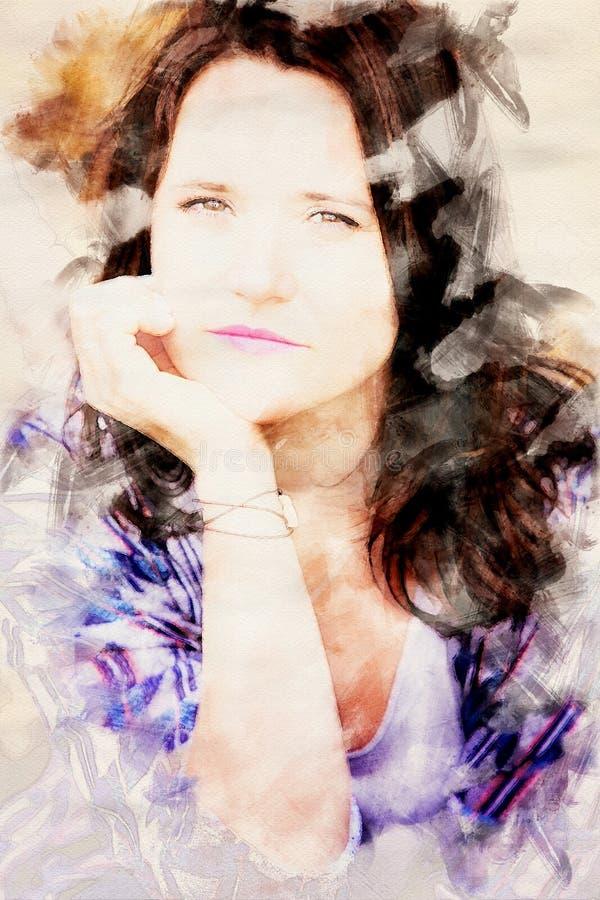 Portrait der jungen Frau des sch?nen Brunette lizenzfreie abbildung