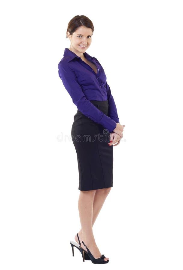 Portrait der jungen glücklichen lächelnden Geschäftsfrau stockfoto
