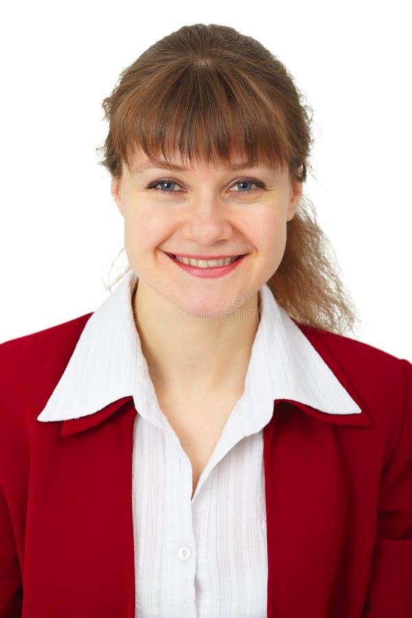 Portrait der lächelnden Geschäftsfrau auf Weiß stockbilder