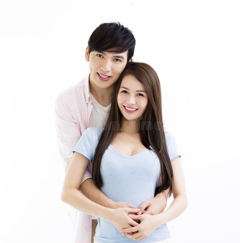 Portrait der lächelnden jungen Paare stockfotos