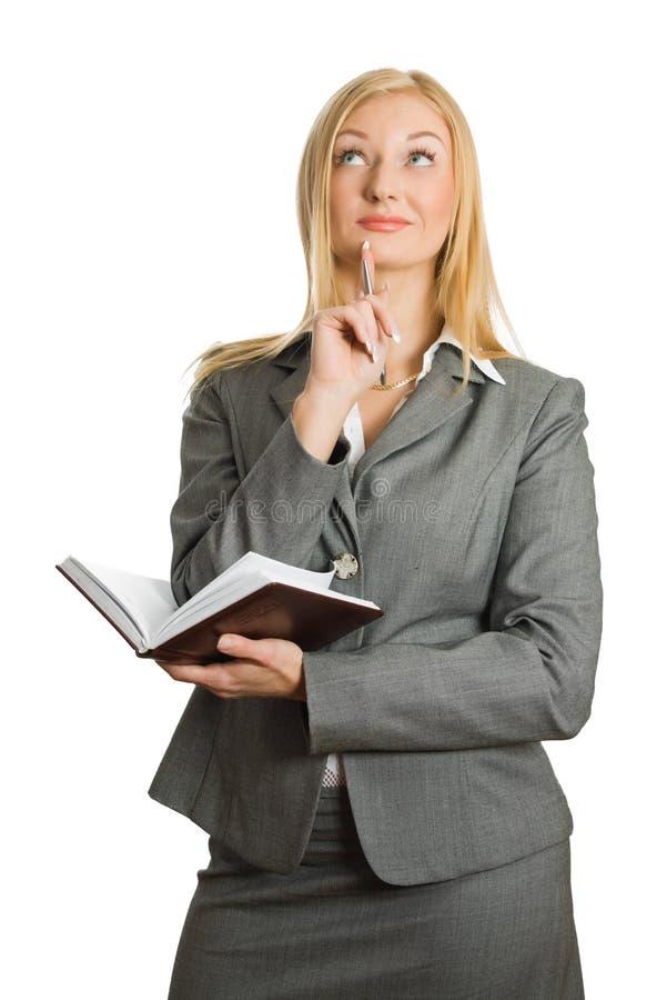 Portrait der recht denkenden Blondine stockbild