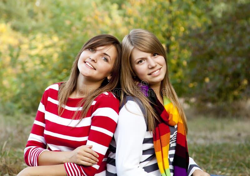Portrait der Redhead- und Brunettemädchen an im Freien. stockfotografie